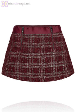 Girls Burgundy Tweed Skirt with Zips
