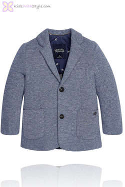 Boys Blue Herringbone  Blazer