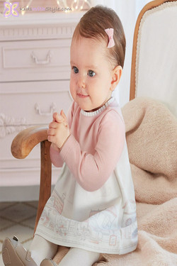 Baby Girl Pink Long-Sleeved Knit Dress