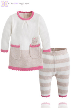 Baby Girl Knit Sweater and Pants Set