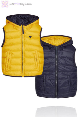 Boys Yellow Reversible Padded Vest