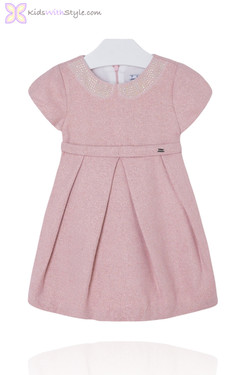 Girls Knitted Pink Sequined Dress