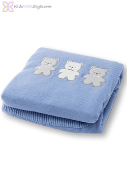 Baby Boy Blue Teddy Bear Tricot Blanket