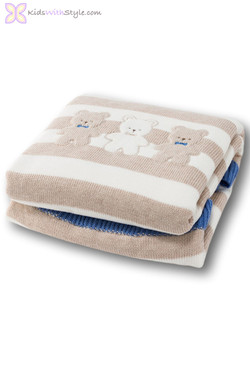 Baby Beige Teddy Bear Nursery Blanket