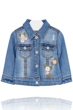 Baby Girl Embroidered Denim Jacket