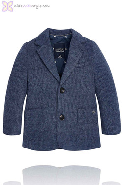 Boys Navy Herringbone Blazer
