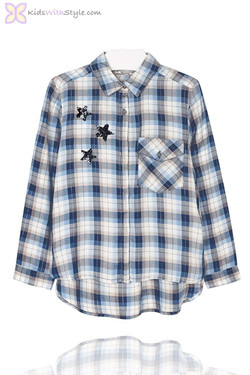 Girls Embroidered Blue Plaid Blouse