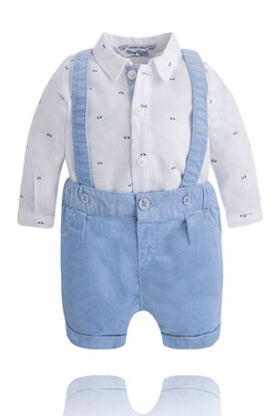 Baby Boy Blue Corduroy Shorts, Shirt and Suspenders Set