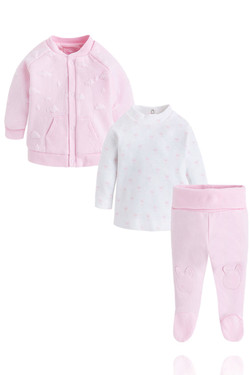 Baby Girl Pink Cloud 3 Piece Tracksuit Set