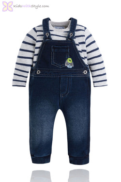 Baby Boy Denim Overalls & Onsie Set
