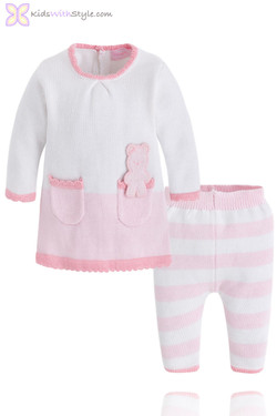 Baby Girl Soft Pink Sweater and Pant Set