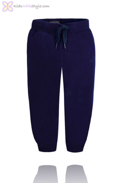 Boys Navy Fleece Sweatpants with Drawstring