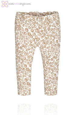 Baby Girl Beige Floral Print Jeggings