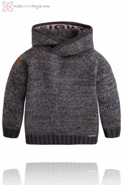 Boys Charcoal Grey Knit Sweater with Hood