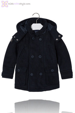 Boys Navy Knit Luxury Coat