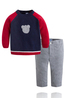 Baby Boy Red and Navy Sweater and Pant Set
