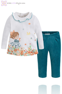 Baby Girl Green Print Blouse and Corduroy Pants Set