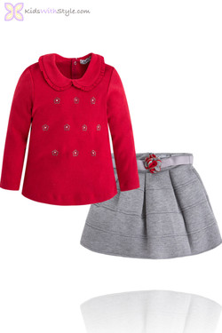Girls Red and Grey Long Sleeved Blouse and Skirt Set