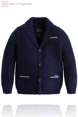 Boys Navy Thick Knit Cardigan/Jacket