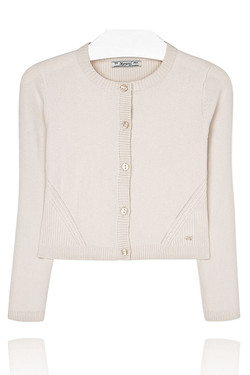 Girls Beige Round Neck Cardigan