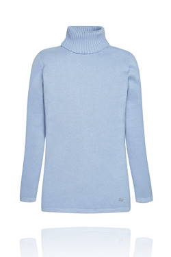 Girls Light Blue Turtleneck Sweater