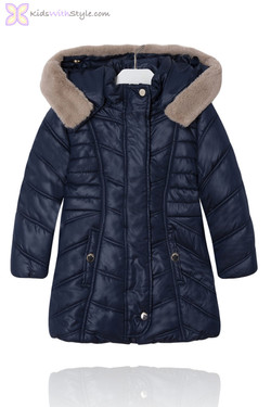Luxury Navy Padded Coat with Faux Fur Hood
