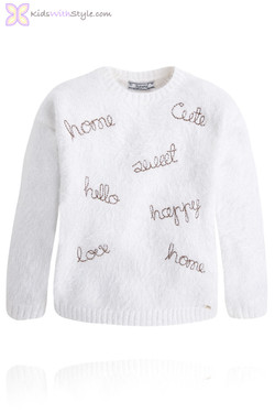 Girls Soft Furry Embroidered Sweater