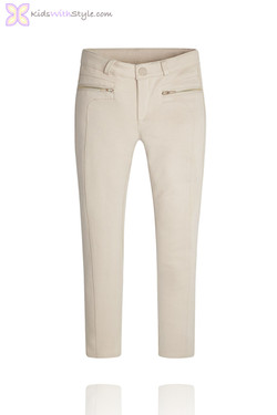 Girls Beige Jeggings with Zipper Pockets