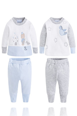 Baby Boy Grey & Blue 4 Piece Jogger Set