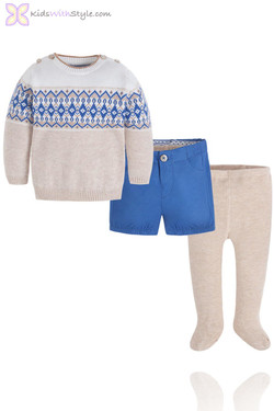 Cobalt Blue 3 Pieces Set of Sweater, Shorts and Tights