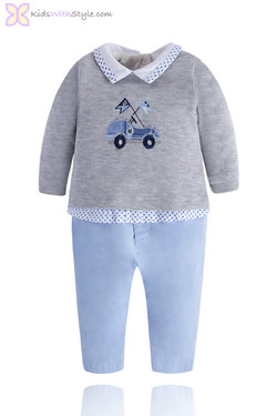 Baby Boy All In One Sweater & Pant Onesie Outfit