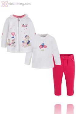 3 Piece Baby Girl Red Lounge Set