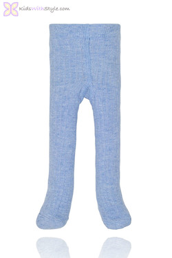 Unisex Sky Blue Ribbed Baby Tights