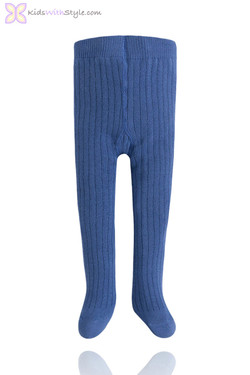 Unisex Blue Riviera Ribbed Baby Tights