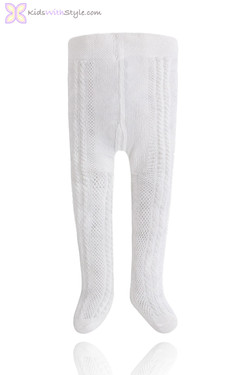 Baby Girl White Knitted Tights