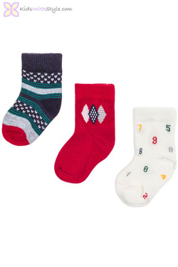 Multicolor Set of 3 Baby Socks