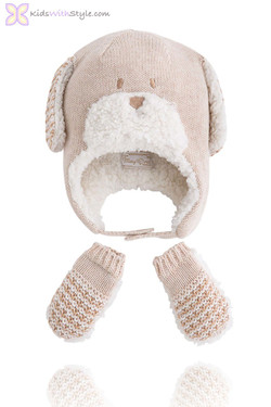 Baby's Beige Bear Hat and Mitten Set