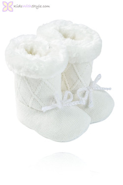 Baby Girl Off White Faux Fur Boots