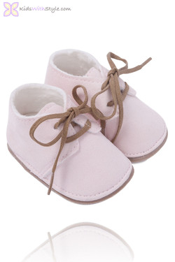 Soft Pink Faux Suede Baby Bootie
