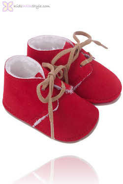 Vibrant Red Faux Suede Baby Bootie