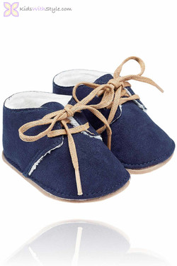 Navy Faux Suede Baby Bootie