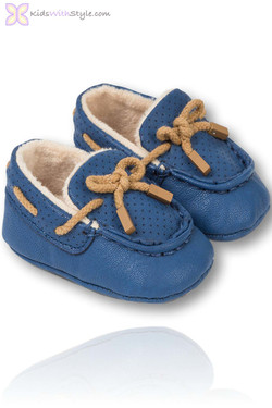 Baby Boy Blue Moccasins with Laces