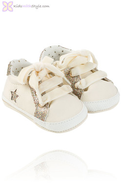 Baby Girl Beige Bedazzled  Trainers