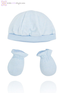 Newborn Blue Baby Hat and  Mittens Set