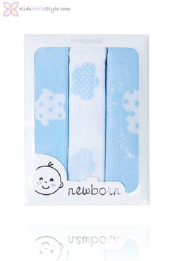Gift Set of 3 Woven Baby Blue Swaddle Muslins