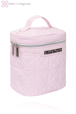 Pink Baby Bottle Cooler in Quilted Leatherette