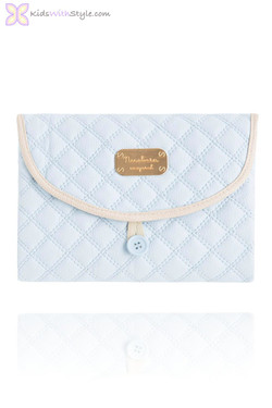 Blue Quilted Leatherette Travel Changing Pad