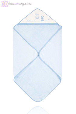 Embroidered Blue Baby Hooded Towel