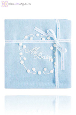 Ultra Soft Knitted Blue Baby Blanket