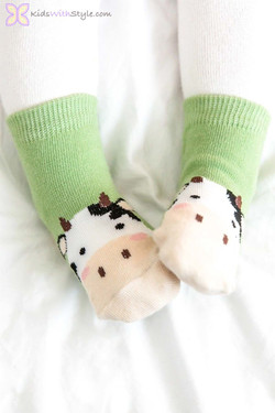 Children's Green Cow Socks